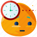 clock, emoji, emoticon, smiley, time, waiting