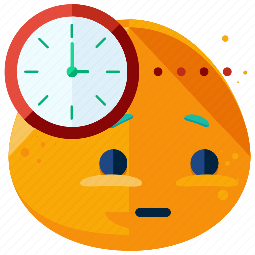 clock, emoji, emoticon, smiley, time, waiting icon