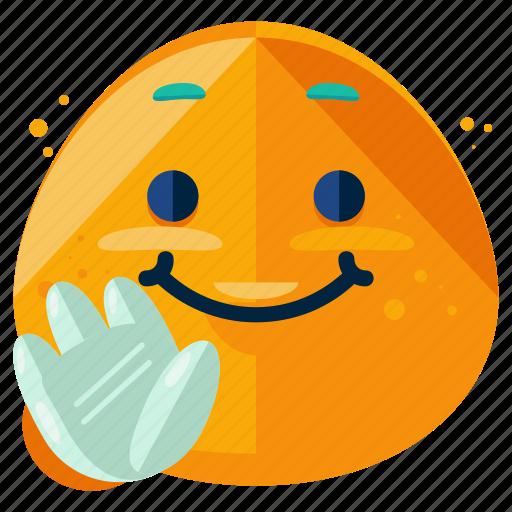 emoji, emoticon, happy, smile, smiley, wave icon