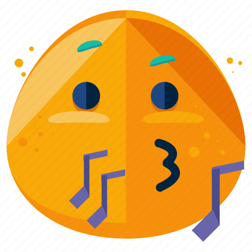 emoji, emoticon, music, smiley, whistle icon