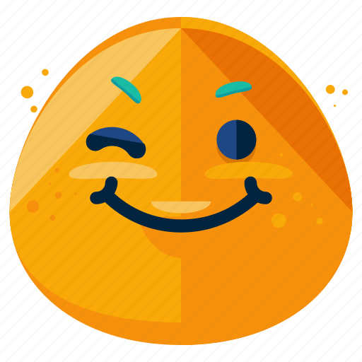 emoji, emoticon, face, happy, smile, smiley, wink icon