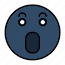 emoji, emoticon, emotion, face, scared, smiley, surprised icon