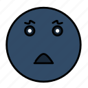 emoji, emoticon, emotion, face, sad, scared, smiley icon