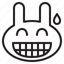 avatar, emoji, emotion, expression, face, head, pleased, relieved, smile, smiley, thankful icon