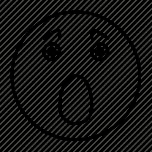emoji, emoticon, emotion, face, frightened, smiley, surprised icon