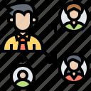 delegating, management, organization, responsibility icon