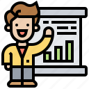 job, meeting, presentation, seminar, training icon