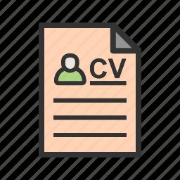 document, employment, job, profile, resume, work icon