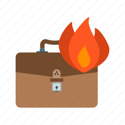 briefcase, businessman, fast, fire, man, running icon