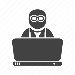 businessman, busy, computer, job, office, work, working icon