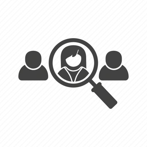 candidate, career, job, magnifying, search, selection, user icon