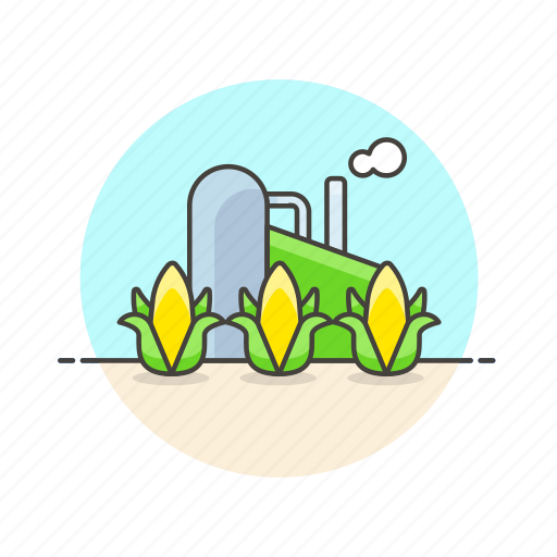 bio, corn, eco, energy, factory, field, green icon