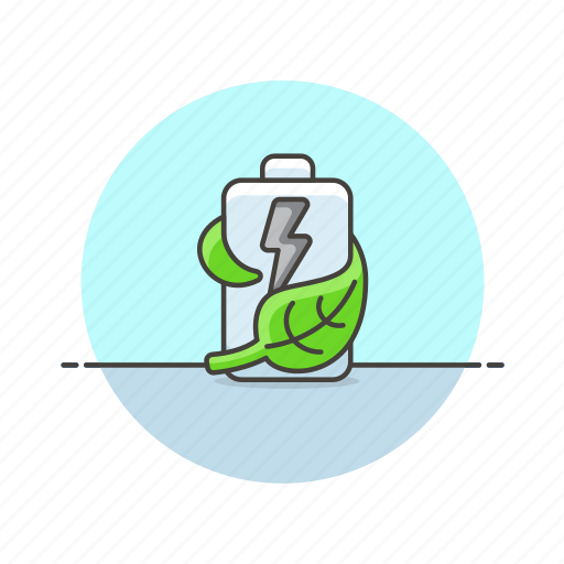 battery, eco, energy, green, leaf, nature, saving icon