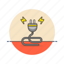 cable, connector, electricity, energy, light, male, plug, power icon