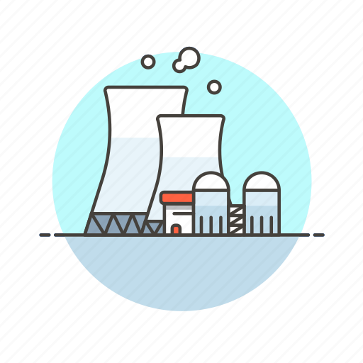 buidling, energy, factory, fission, nuclear, powerplant, production icon