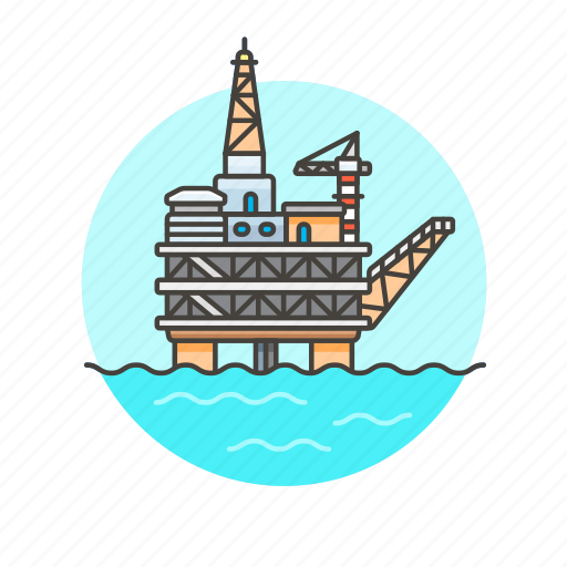 energy, factory, ocean, oil, platform, water, well icon