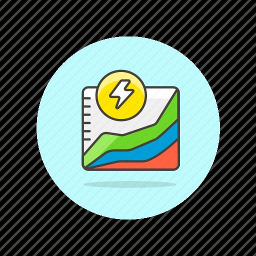 analysis, diagram, energy, graph, power, presentation, report, usage icon