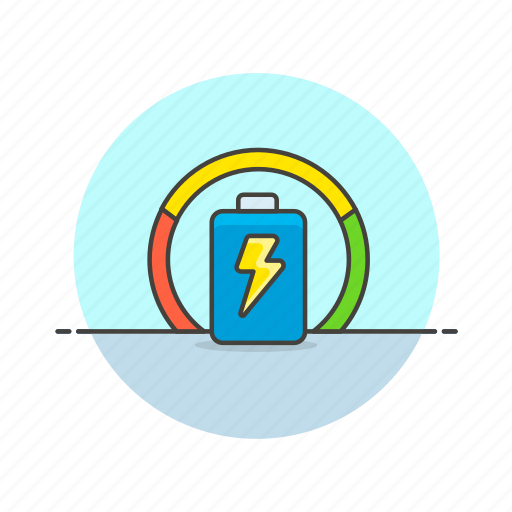 battery, charge, cycle, energy, graph, power, ring, usage icon
