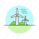 charge, electricity, energy, mill, power, wave, wind icon