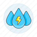 2, drop, energy, green, hydraulic, hydro, plant, power, renewable, thunderbolt, water icon