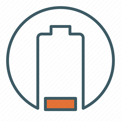 battery, cell, circle, energy, level, low, power icon