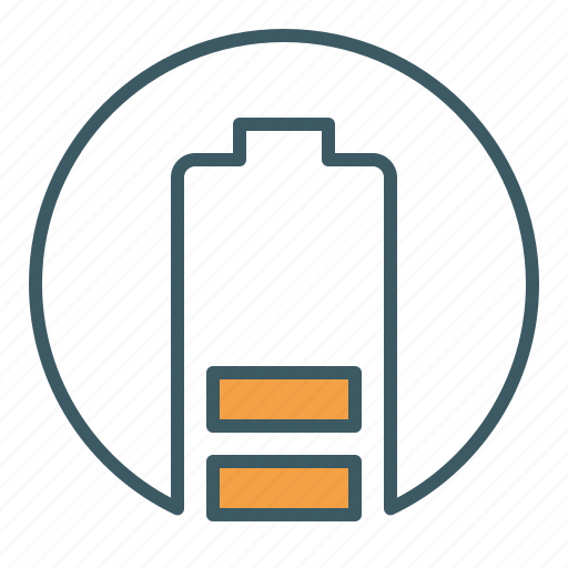 battery, cell, circle, energy, level, power icon