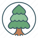 christmas, circle, conifer, forest, tree, wood icon