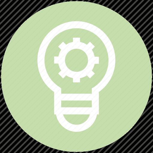 abstract, bulb, creative, energy, engineering, gear, idea icon