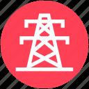 electricity pole, electricity pylon, electronics power, power mast, tower, transmission pole, utility pylon icon