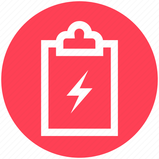 clipboard, electric, energy, green, power, thunder icon