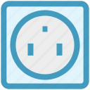 energy, power, power outlet, power socket, power supply, socket, wall socket icon
