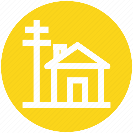 building, electric tower, electricity, energy, farm house, house, power icon