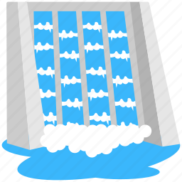 energy source, hydropower, water dam, water energy, waterfall icon