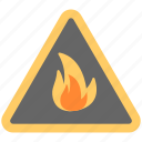 fire danger sign, fire hazard, fire sign, flammable material, warning sign icon