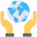 hand holding globe, save earth, save world, world protection, world security icon