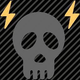 danger sign, danger warning, high voltage caution, skull sign, warning concept icon
