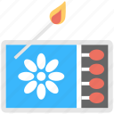 burn stick, fire, flame box, flame stick, matchbox icon