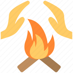 bonfire, fire energy, hand over fire, hand protection, warming hand icon