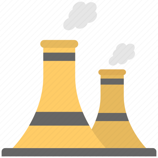 cooling tower, industrial chimneys, nuclear plant, power plant, power station icon