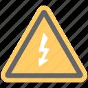 danger sign, electrical symbol, high voltage hazard, thunder on triangle, warning sign