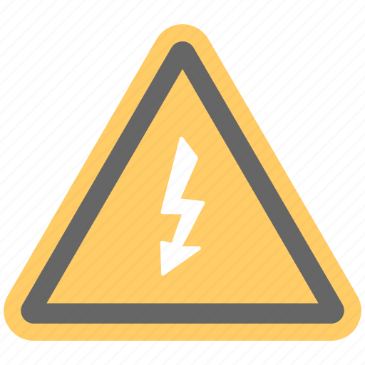 danger sign, electrical symbol, high voltage hazard, thunder on triangle, warning sign icon
