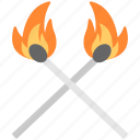 burning match, burning matchsticks, fire, flaming match, matchstick icon
