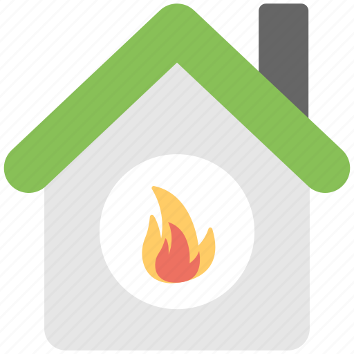 burning house, burnt home, fire house, house fire, insurance concept icon