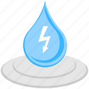 hydropower, power drop, small droplet, water drop, water energy icon