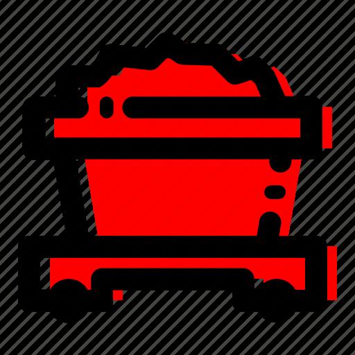 coal, coal cart, fuel, mine icon icon