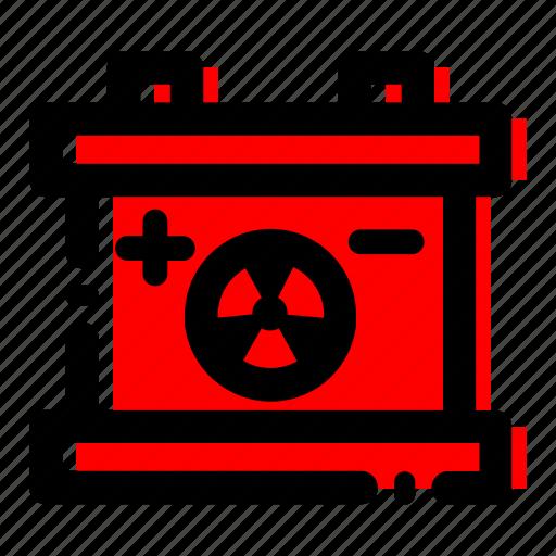 accumulator, car battery, energy, radioactive, trash icon icon