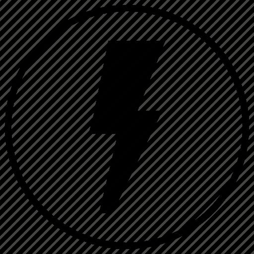electric, energy, label, round icon