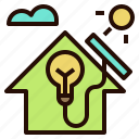 cell, energy, house, roof, solar icon