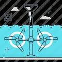 water, environmental, sea, tidal energy, wave energy, clean energy, electric icon