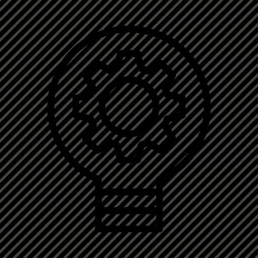 bulb, gear, idea, option, setting icon